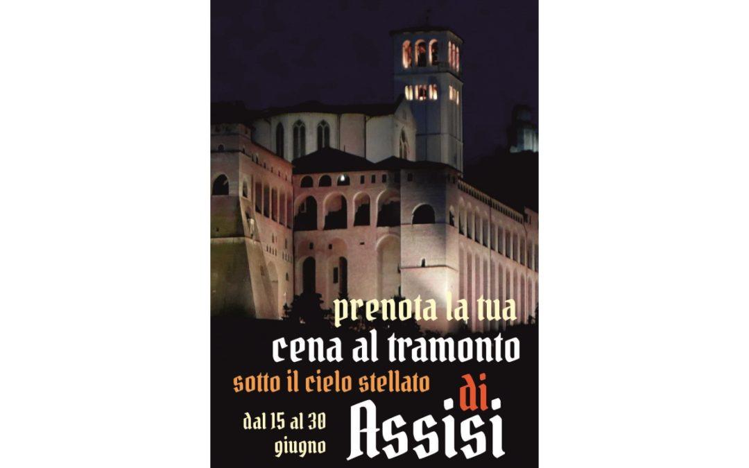 Cena al tramonto sotto il cielo stellato di Assisi