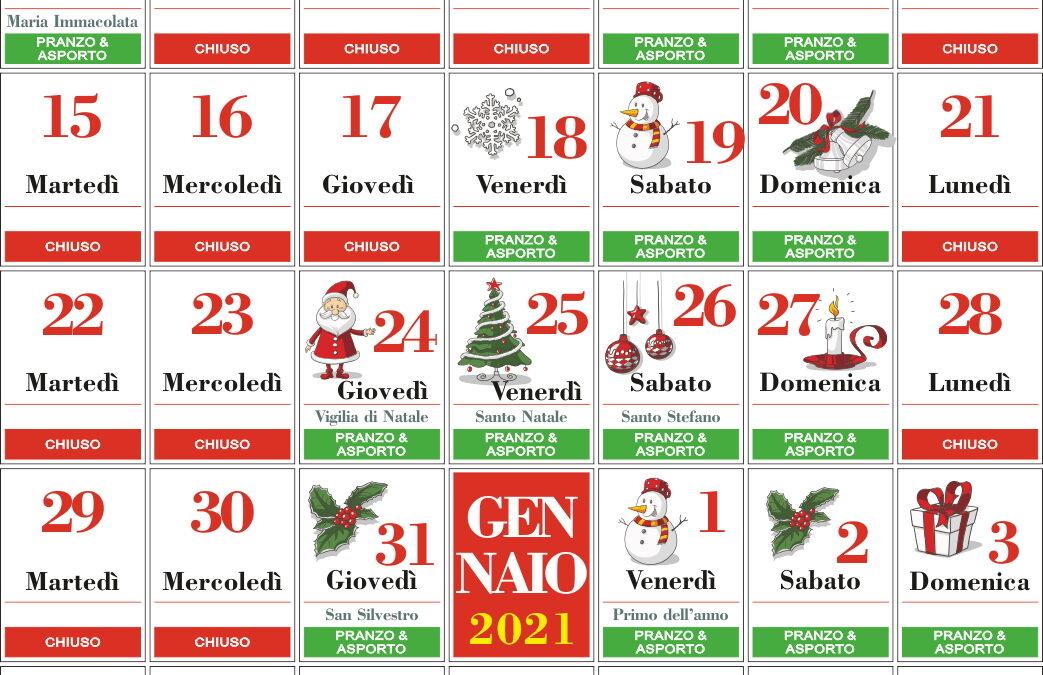 Calendario Aperture Ristorante